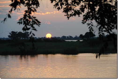 Sunset over the Zambezi River in Kasane, Botswana