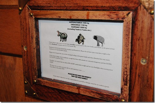 Serious warnings in the lodge about avoiding contact with hippos, elephants, and crocodiles