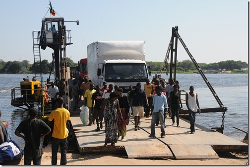 Kazungulu Ferry Crossing between Botswana and Zambia