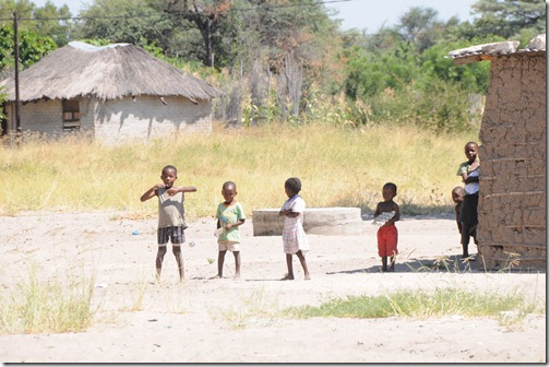 Children in a village chiefdom near Mulanga, Namibia