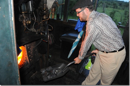 Shoveling Coal on a Steam Train