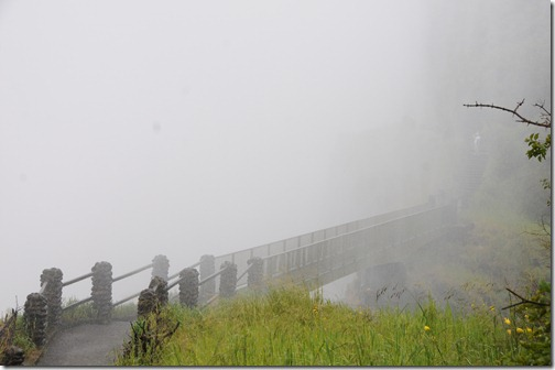 Walking bridge to the island near Victoria Falls, Zambia - a completely soaking experience