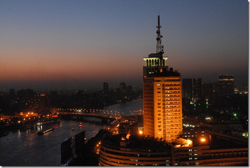 Cairo at night from the Ramses Hilton