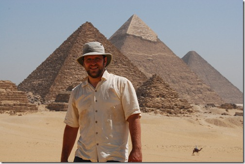 The author at the Pyramids of Giza, Egypt