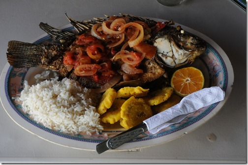 Great local cuisine, fresh from the lake!  On Lake Nicaragua.