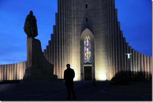 Hallgrímskirkja Churck in Reyjavik with a Statue of Leif Ericson in front