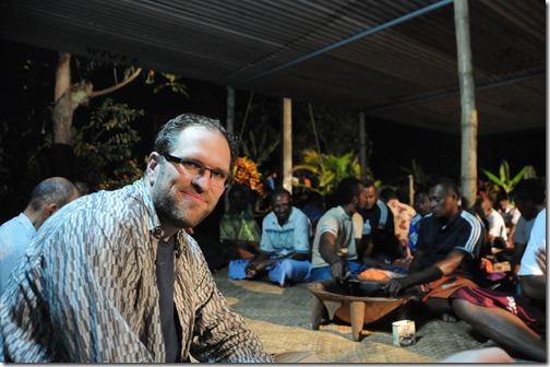 Drinking Kava root in a Melanesian village in Fiji
