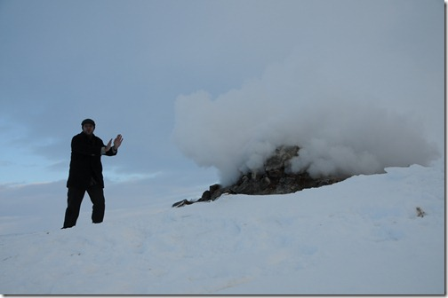 Warming up by a Steam Vent in Iceland