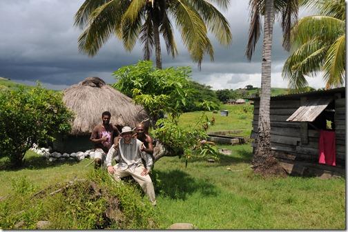 Making friends in a remote seaside village in Fiji