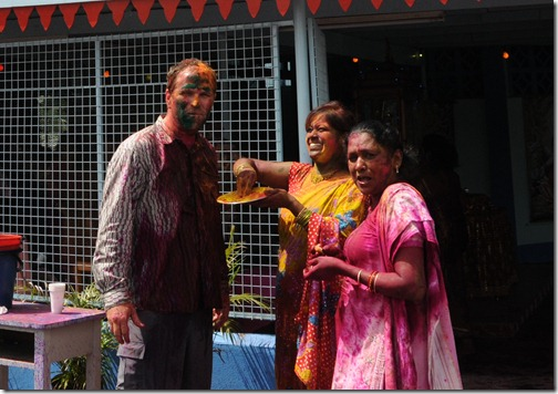 Participating in the Holi festival in Suva, Fiji
