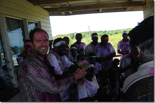 Singing and playing with a traveling Hindu Holi band in Fiji