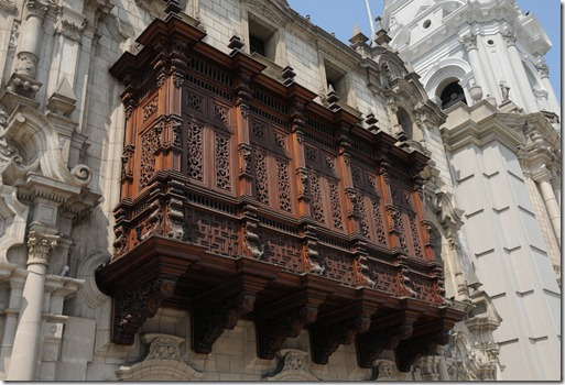 Ornamental balcony on the Archibishops Palace in Lima, Peru