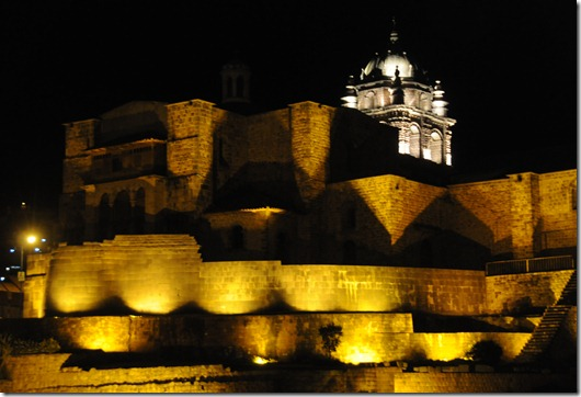 The Church of Santo Domingo built on top of the Incan foundations of Coricancha, the Golden Temple