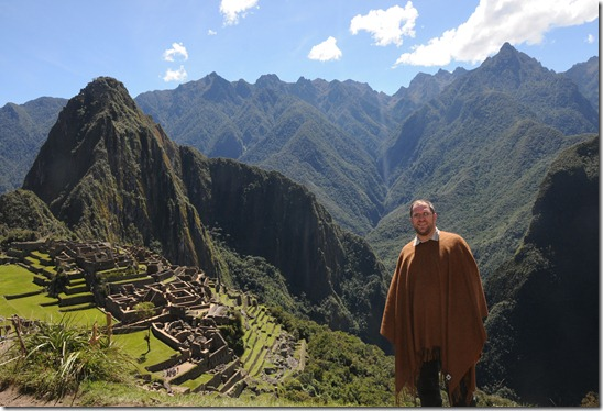 Posing in my 'Speaker Poncho' in Machu Picchu, Peru