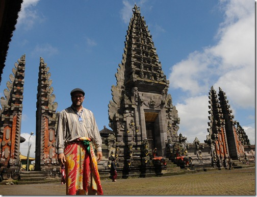 Here I am inside a Balinese Pura (Temple,) wearing the required sarong
