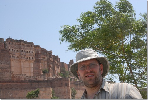 View of the Mehrangarh Fort from down the hill in Jodphur, Rajasthan, India