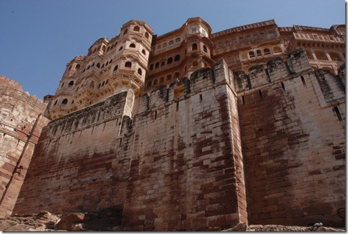 View up at the walls of the Mehrangarh Fort in Jodphur, Rajasthan, India