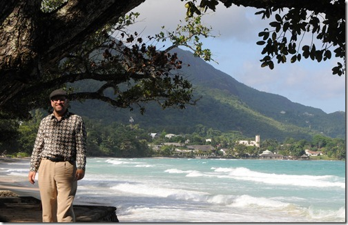 Self-portrait on Beau Vallon Beach, Mahé Island, Seychelles