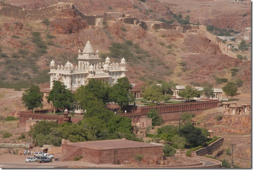 View of a palace from the top of the Mehrangarh Fort in Jodhpur, Rajasthan, India