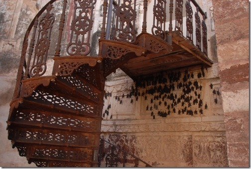Bats sleeping under a stairway in the View of a palace from the top of the Mehrangarh Fort in Jodhpur, Rajasthan, India
