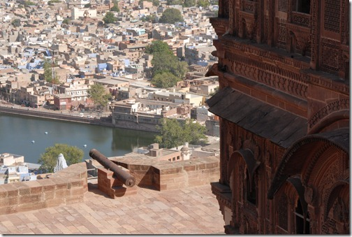 A cannon's view of the Blue City of Jodhpur, Rajasthan, India from the top of the Mehrangarh Fort