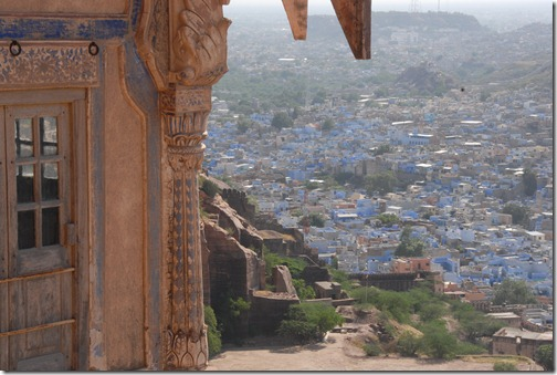 View of the Blue City of Jodhpur, Rajasthan, India from the top of the Mehrangarh Fort