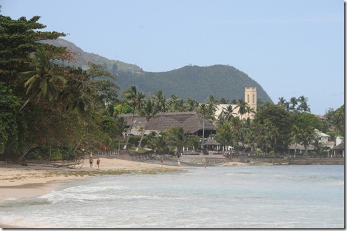 Bel Ombre Town and Church from Beau Vallon Beach, Mahé Island, Seychelles