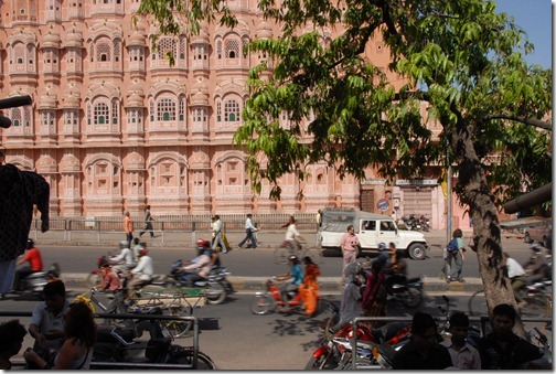 Street scene near the Hawa Mahal (Palace of the Breeze) in Jaipur, Rajasthan, India