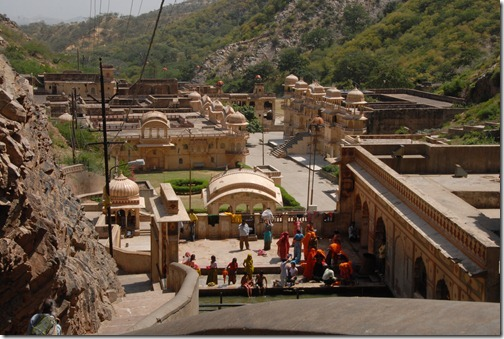 "Temples at Galtaji, also known as the ""Monkey Temple"" or Galwar Bagh."