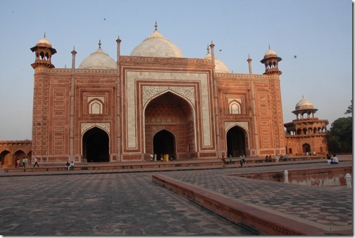 The red sandstone Taj Mahal Mosque in Uttar Pradesh, India