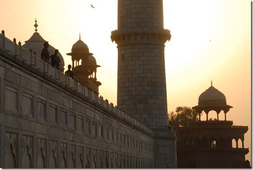 The Taj Mahal Mausoleum at sunset in Agra, India