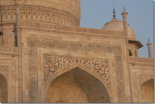 View of the calligraphy on the white marble of the Taj Mahal Mausoleum, Agra, Uttar Pradesh, India
