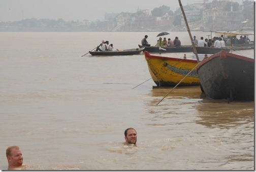 Joel and I bathing in the Ganges river, a spiritual and purification ritual for many Hindus.