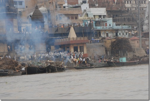 Funeral pyres along the Ganges in Varanasi. Out of respect, we didn't take any close pictures or intrude on the funerals.