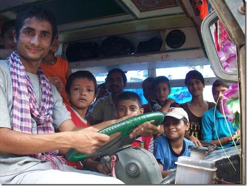 Bus driver and passengers, Bhairahawa, Nepal