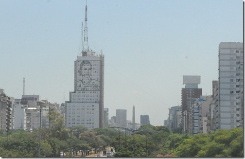 Driving into Buenos Aires on Avenida 9 de Julio, the widest street in the world.