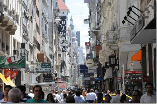 Lavalle Street, a pedestrian friendly street in Buenos Aires, Argentina.