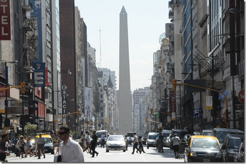 Streetside view of the Obelisk of Buenos Aires, Argentina.