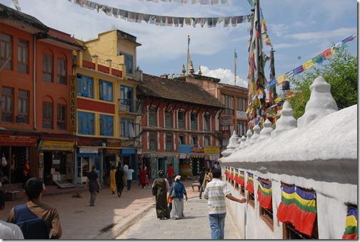 Prayer wheels at the Sacred Buddhist Boudhanath Stupa near Kathmandu, Nepal