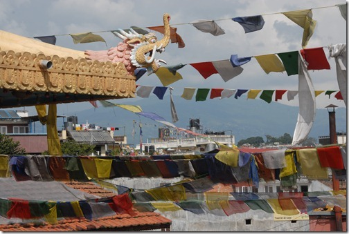 Prayer flags near the Sacred Buddhist Boudhanath Stupa near Kathmandu, Nepal