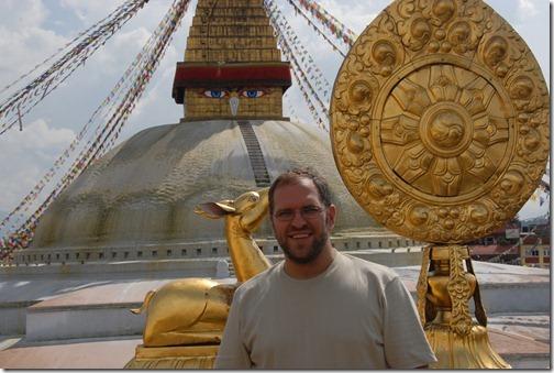 Self shot near the sacred Buddhist Boudhanath Stupa near Kathmandu, Nepal