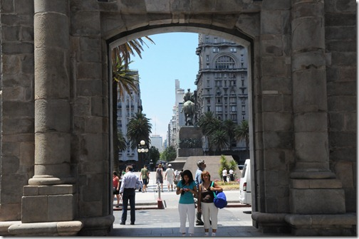 View of the Plaza Independencia through the Puerta de la Ciudadela in Montevideo, Uruguay