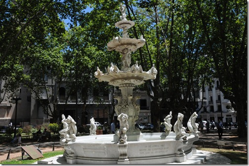 Fountain in the Plaza de la Constitución, Montevideo, Uruguay