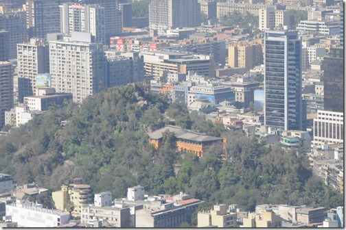 View of Cerro Santa Lucía in the center of Santiago. This was the view from the taller Cerro San Cristóbal.