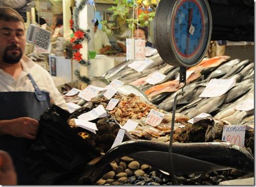 Fishmonger in Mercado Central, Santiago, Chile