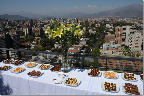 Coffee break on the 14th floor rooftop terrace of the Universidad DUOC, our conference venue in Santiago, Chile