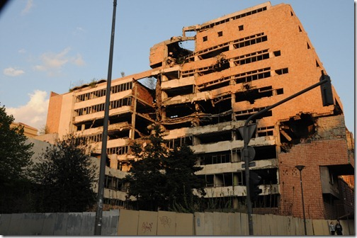 Former Yugoslav Ministry of Defence Building in Belgrade, bombed by NATO in 1999 and left in its bombed out state