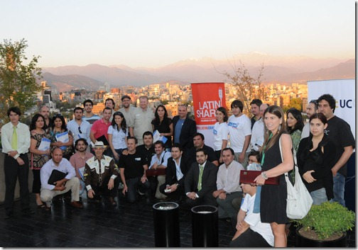 Sharing the Point - South America - Santiago Event: The speakers and participants on the rooftop of the Duoc University in Santiago