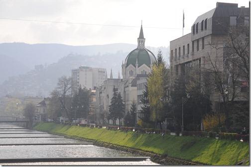 Miljacka River in Sarajevo, Bosnia-Herzegovina