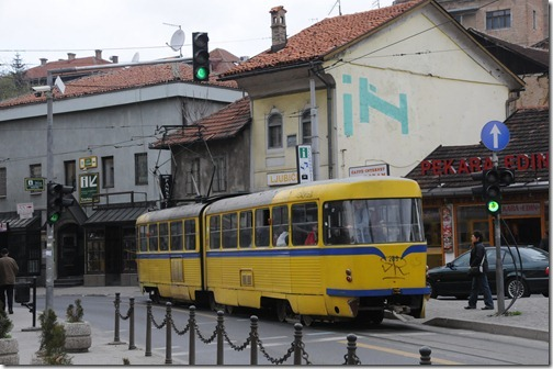 Street tram in the Old Town of Sarajevo, Bosnia-Herzegovina